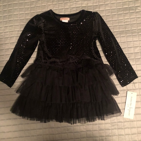 Nanette Lepore Other - 2/$25 Girls 3T Black Sparkly Tutu Tunic Top